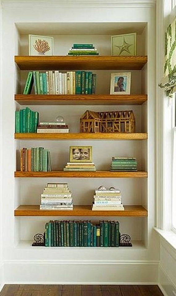 semi floating shelves via loft and cottage