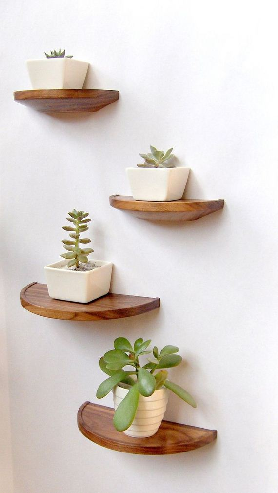 Round Solid Walnut Floating Shelves : These half round walnut shelves ...