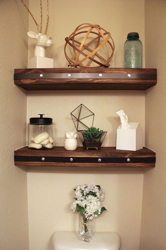 Diy floating shelves - How to decorate a water closet ...