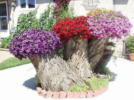 24-DIY-Tree-Stump-Garden
