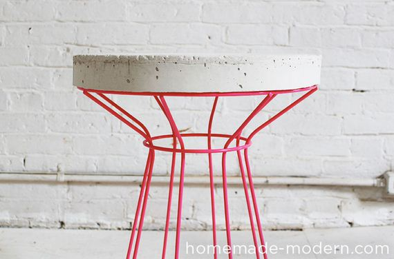 cool diy concrete coffee and side tables. Black Bedroom Furniture Sets. Home Design Ideas