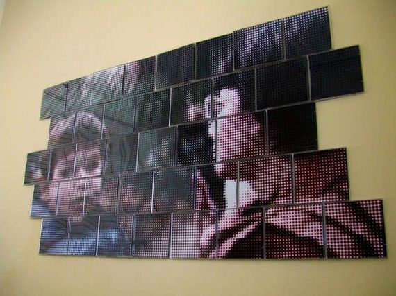 How to use old cd cases for Cd mural wall display