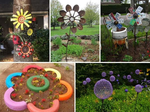 Cheap diy garden art flowers Diy garden ideas on a budget