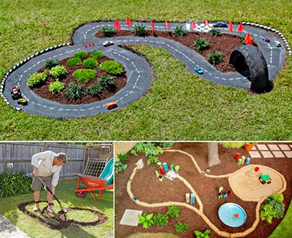 Amazing Backyard DIY Race Car Tracks For Your Kids