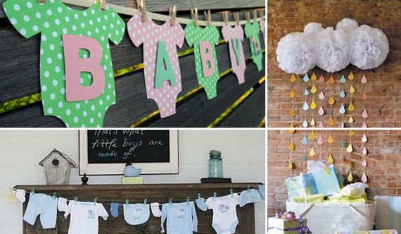 Cheap diy decorating ideas for baby shower party for Baby shower wall decoration ideas