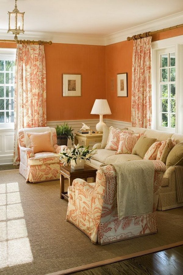 orange and cream living room what color curtains go with burnt orange walls home the 22985