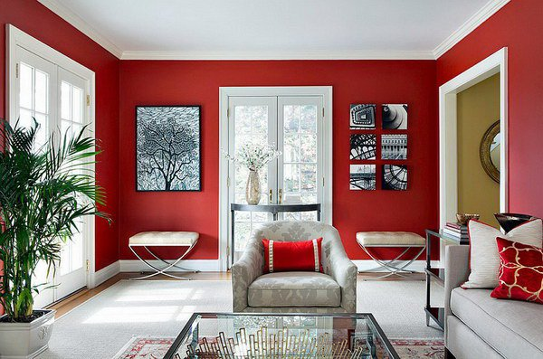 Simple Living Room Colors Red Inside Decorating