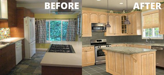 Cheap kitchen makeover ideas for Before after kitchen makeovers