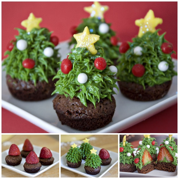 Homemade Strawberry Christmas Tree Brownie
