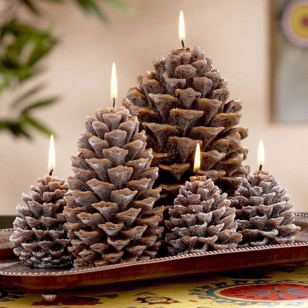 Festive diy pine cone decorating ideas diy pine cone candles 12 pine cone ideas solutioingenieria Images