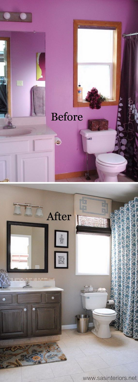 Purple and gray bathroom