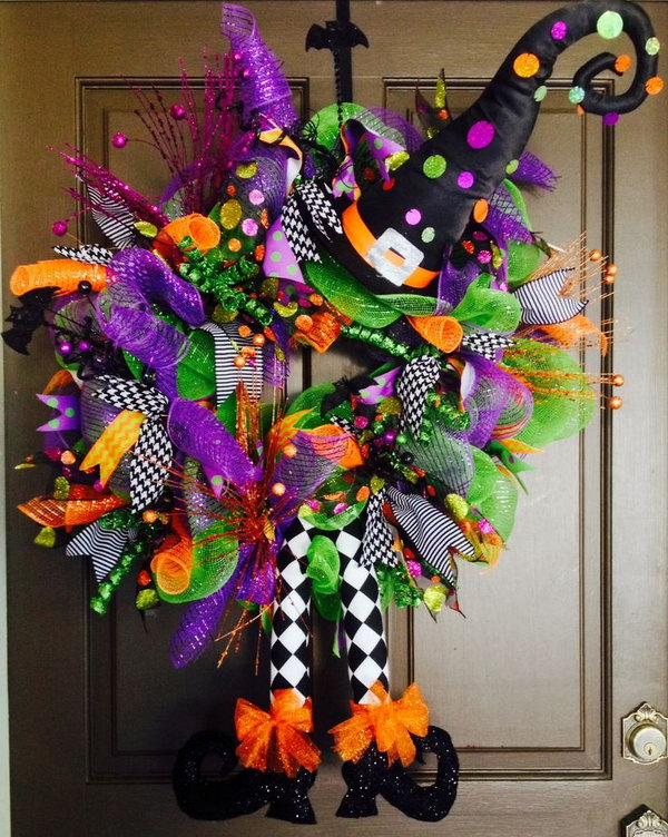 Unique diy witch wreath projects - Interesting diy halloween wreaths home ...