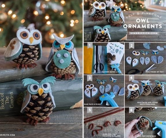 DIY Cute Pine Cone Owl Ornaments