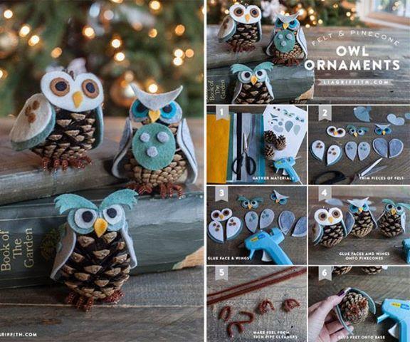 DIY Cute Pine Cone Owl Ornaments