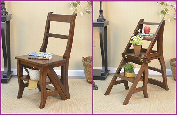 Awesome DIY Convertible Folding Ladder Chair Free Plan