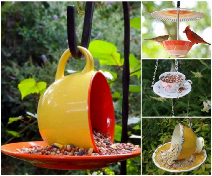DIY Teacup Bird Feeder Projects