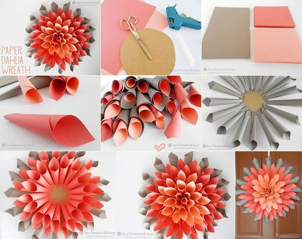 Awesome DIY Paper Dahlia Wreath