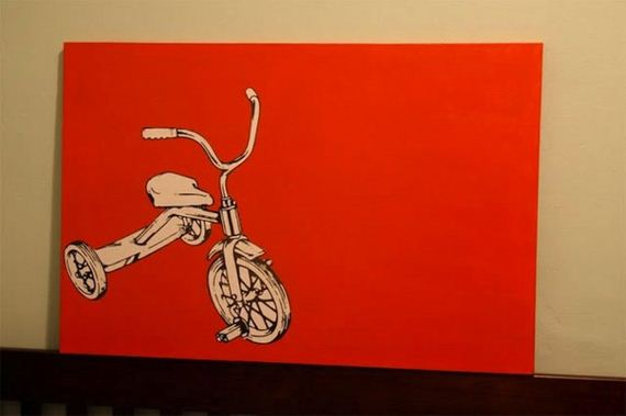 Tricycle Painting On Black Paper