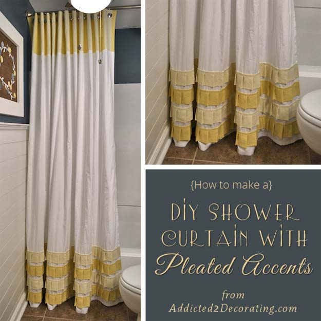 DIY Long Shower Curtain With Pleated Ruffle Accents