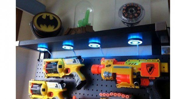 Nerf Gun Storage Keep The Guns And Ammo Kept Up Off Floor With A Simple Pegboard Project Perfect For Shared Boy S Room