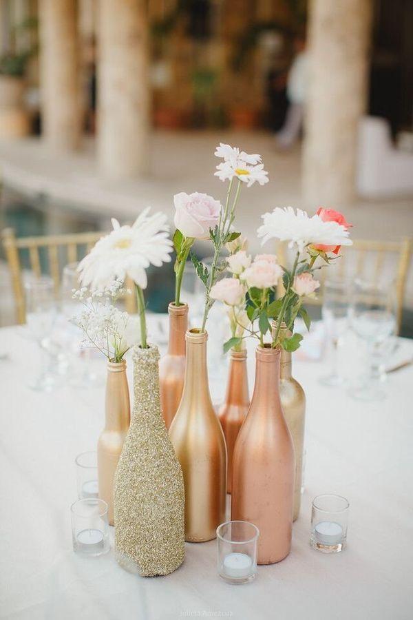 Amazing diy wedding centerpieces 14 rose gold bottles junglespirit Gallery
