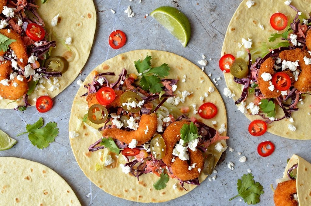 Perfect Crispy Shrimp Tacos With Chipotle Red Cabbage Slaw