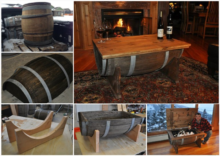 Cool DIY Whiskey Barrel Coffee Table - Manly coffee table