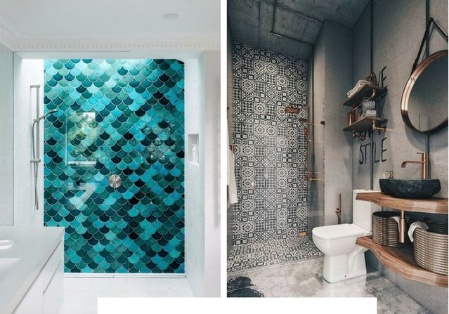 Unique Eye-Catching Bathroom Tile Idea
