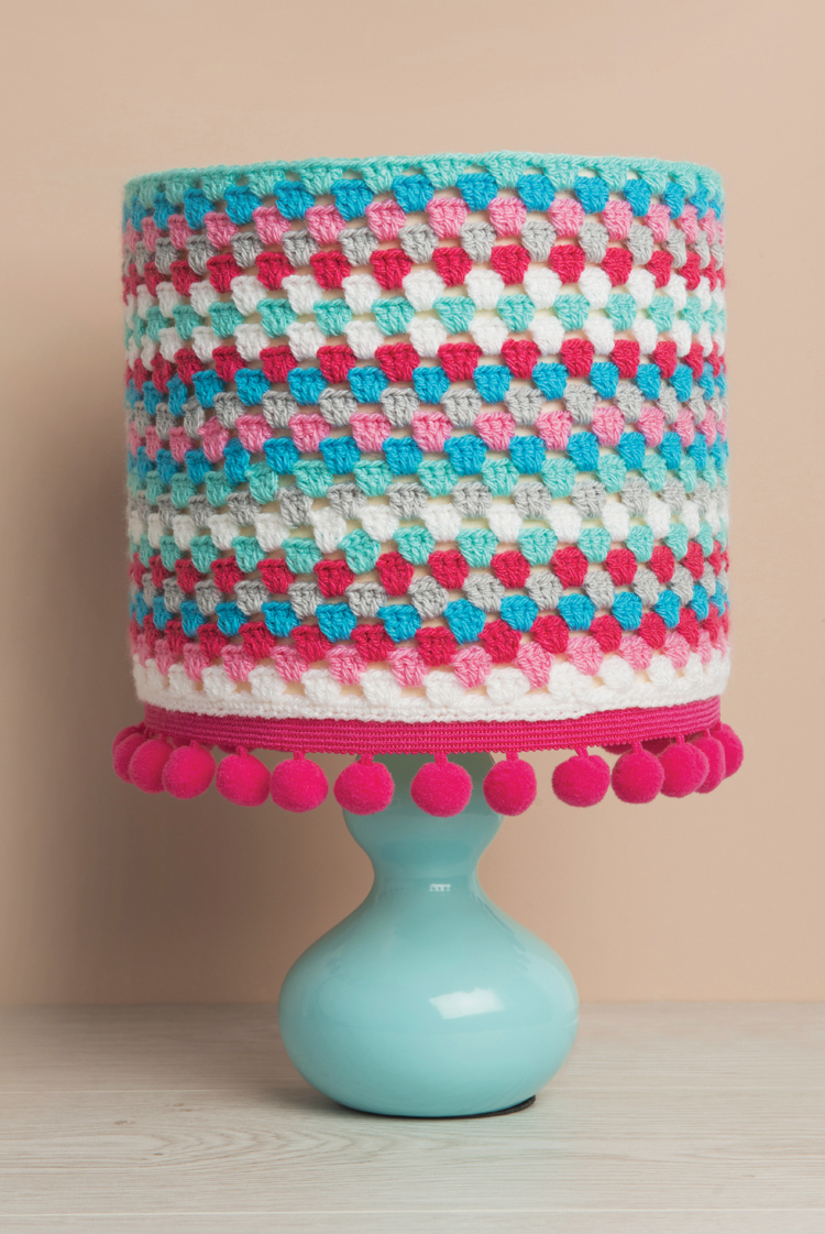 Crocheted And Pom Lamp Shade