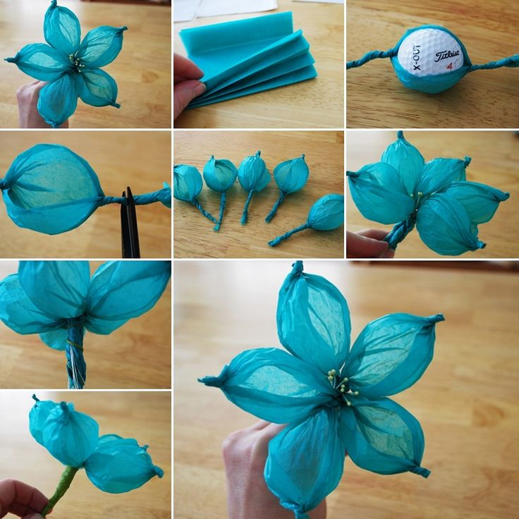 Cool crafts made with tissue paper wide petalled flowers golf ball flowers mightylinksfo