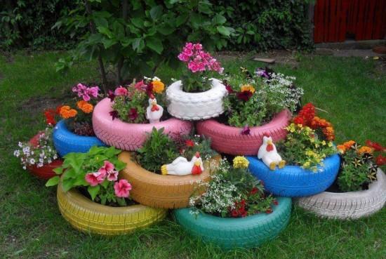 DIY Garden Teacup Tyre Planters